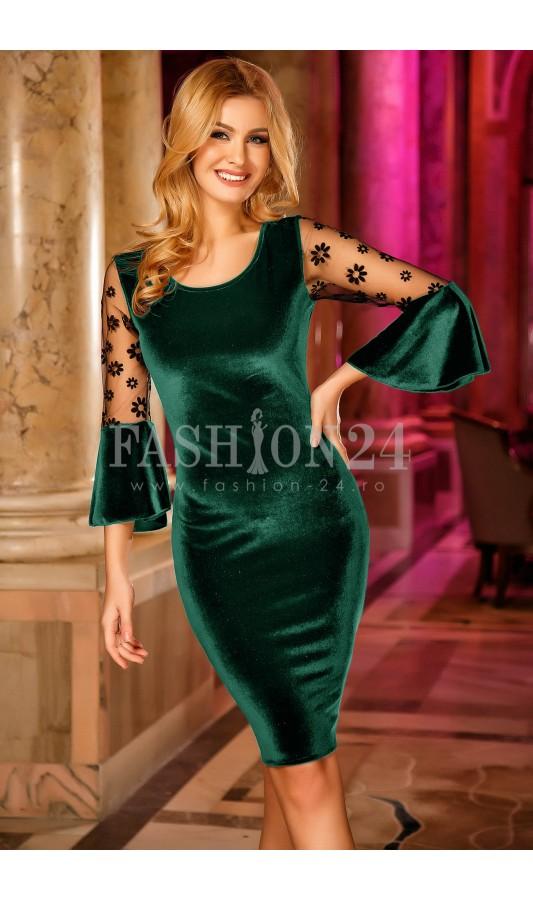 Rochie de ocazie scurta verde din catifea eleganta Madalyn Green