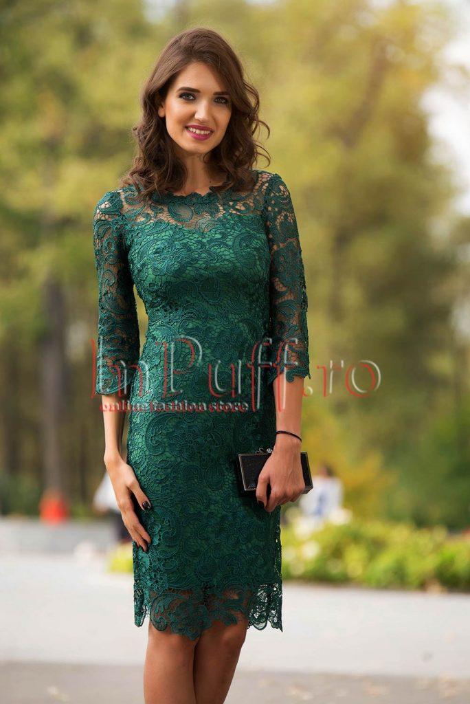 Rochie de seara eleganta verde din broderie transparenta Miss Grey