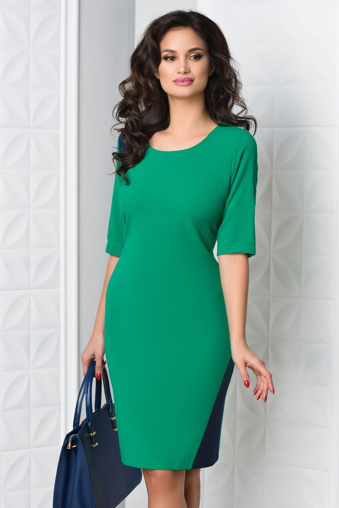 culori delicate vânzarea de încălțăminte multe stiluri Rochie office verde comoda cu maneci scurte Miruna – Rochii.Talya.ro