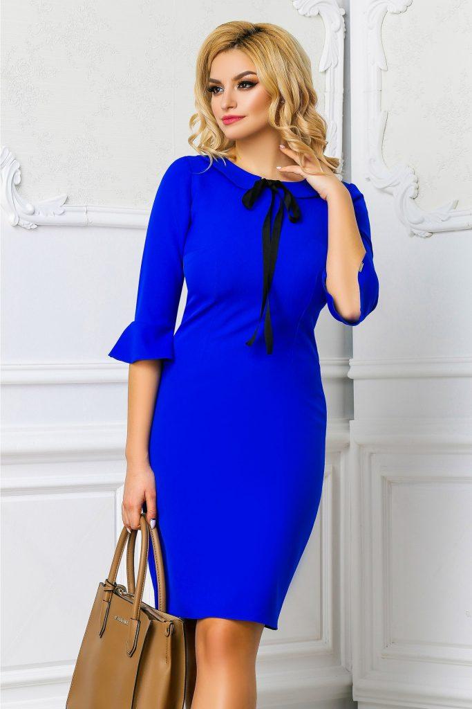 Rochie office albastra cu fundita neagra la guler si maneci usor evazate Moze Dalina