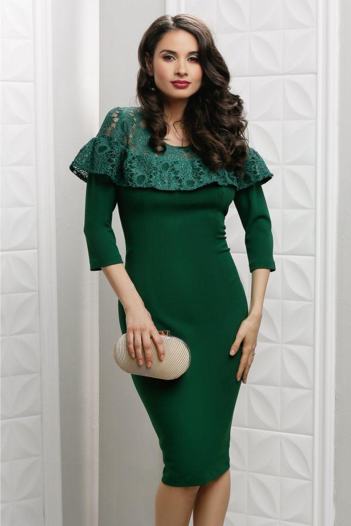 Rochie cu dantela verde Moze Flore