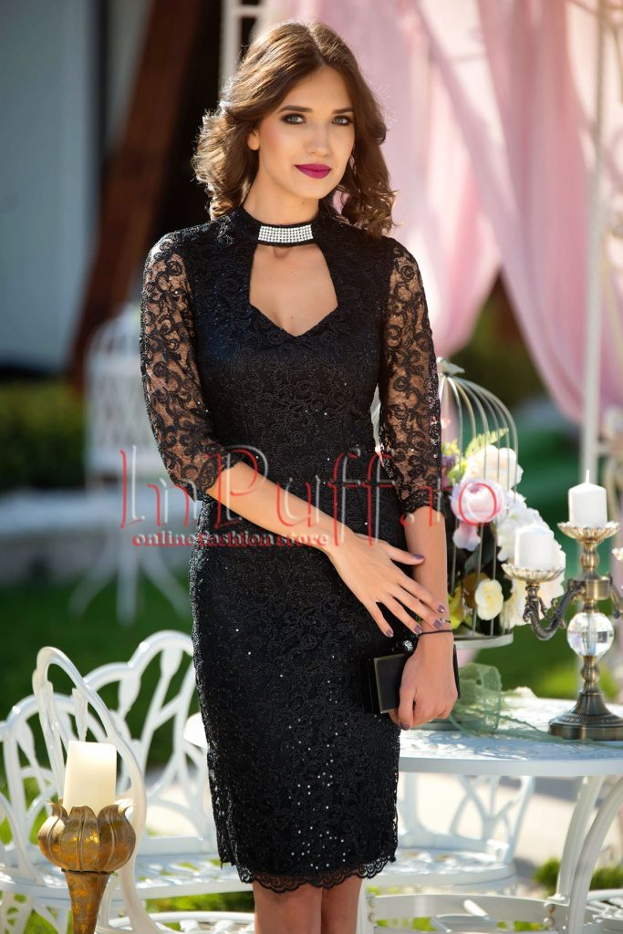 Rochie de seara neagra cu maneca transparenta realizata din dantela cu paiete MBG
