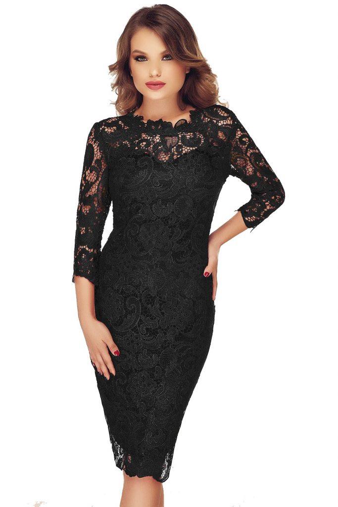 Rochie eleganta neagra de seara cu maneci lungi din dantela Noelle
