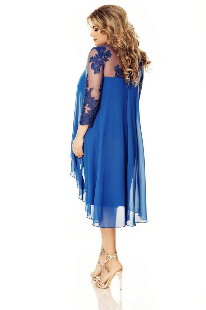 Rochie de seara albastra pentru femei plinute cu dantela fina brodata in zona bustului Flora