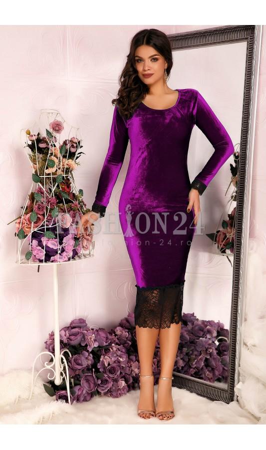 Rochie office mov pana la genunchi din catifea Purple Velvet