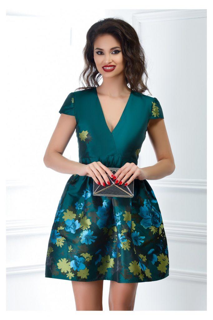 Rochie scurta verde cu imprimeuri si fusta cu aspect bufant Rania