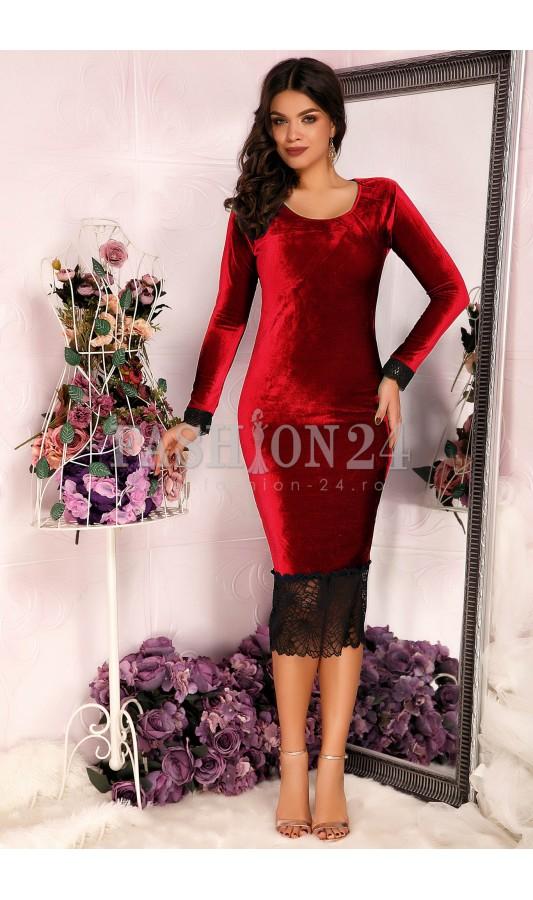 Rochie office rosie pana la genunchi din catifea Red Velvet