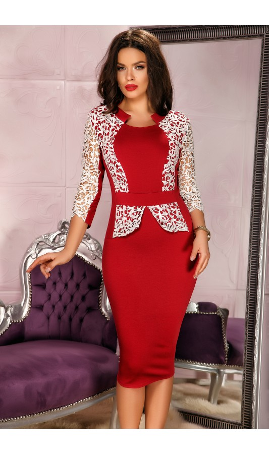 Rochie eleganta de ocazie rosie cu alb si dantela la bust