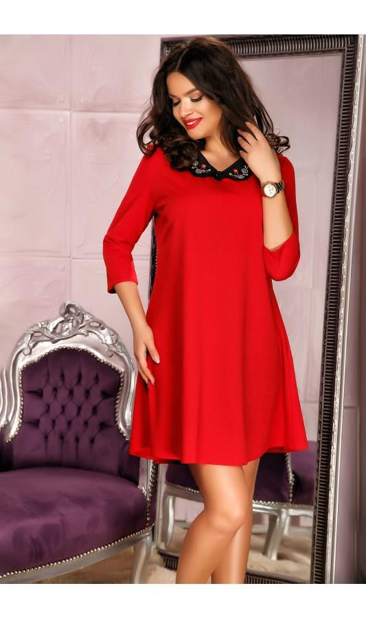 Rochie rosie office cu croiala asimetrica si guler elegant