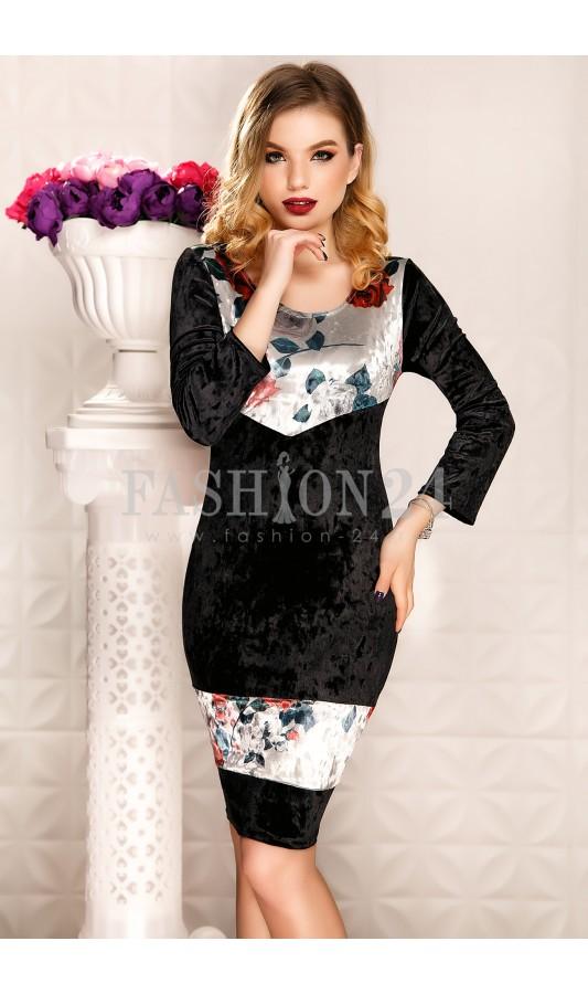Rochie eleganta neagra de ocazie din catifea Shreya Black