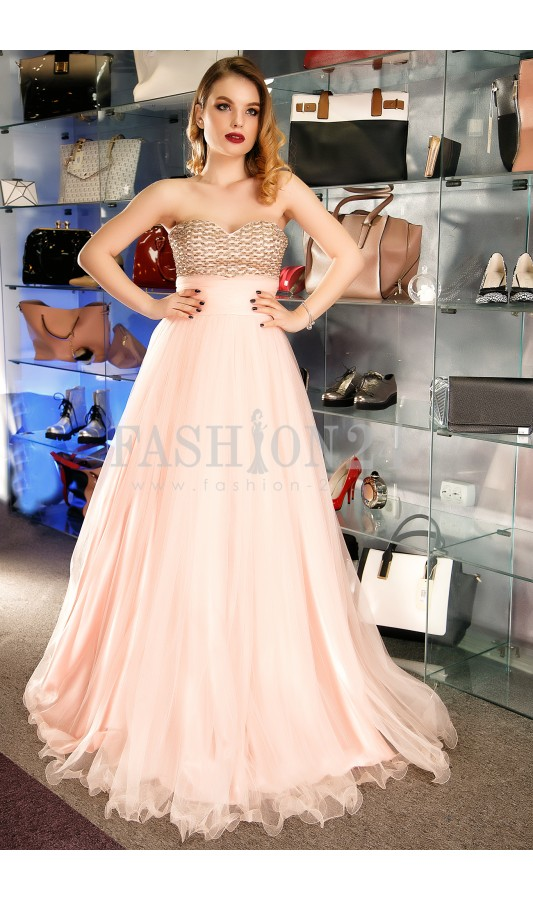 Rochie lunga stil printesa roz Susan Pink