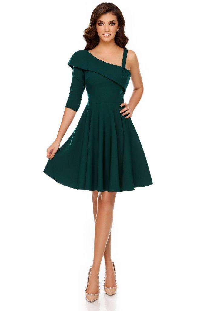 Rochie verde cu decolteu asimetric Thea Verde