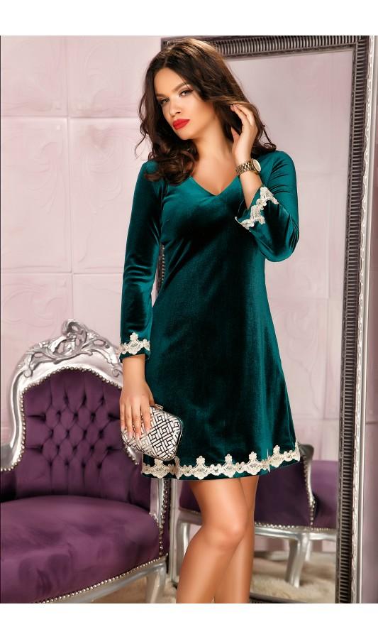 Rochie scurta verde din catifea eleganta cu broderie aurie