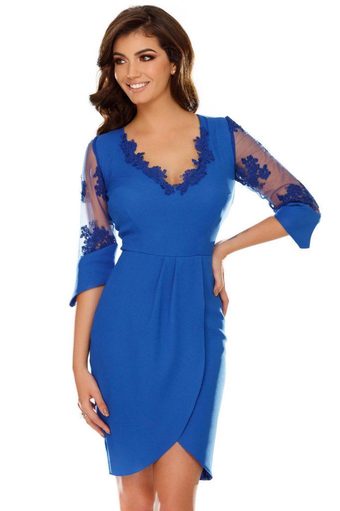 Rochie albastra de ocazie cu fusta petrecuta Yarina