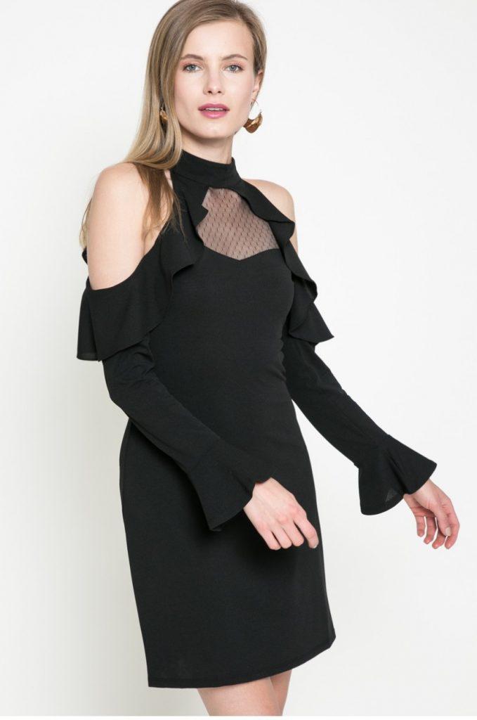 Rochie neagra Guess Jeans de seara cu maneca lunga si insertii decorative