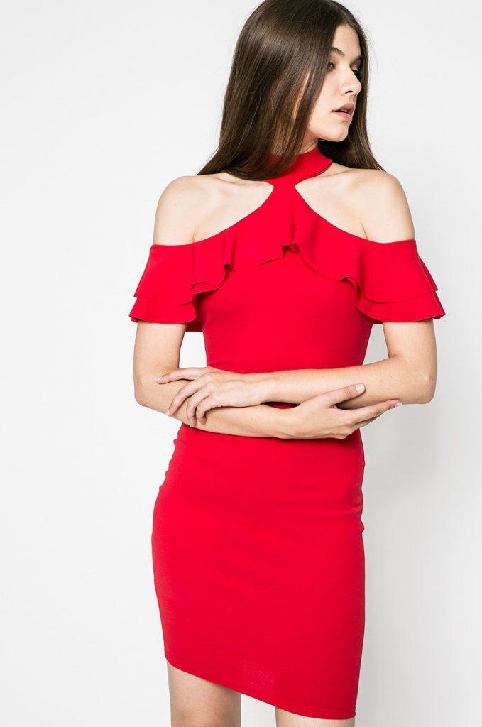 Rochie scurta rosie de ocazie cu Finisaje decorative Kiss my dress