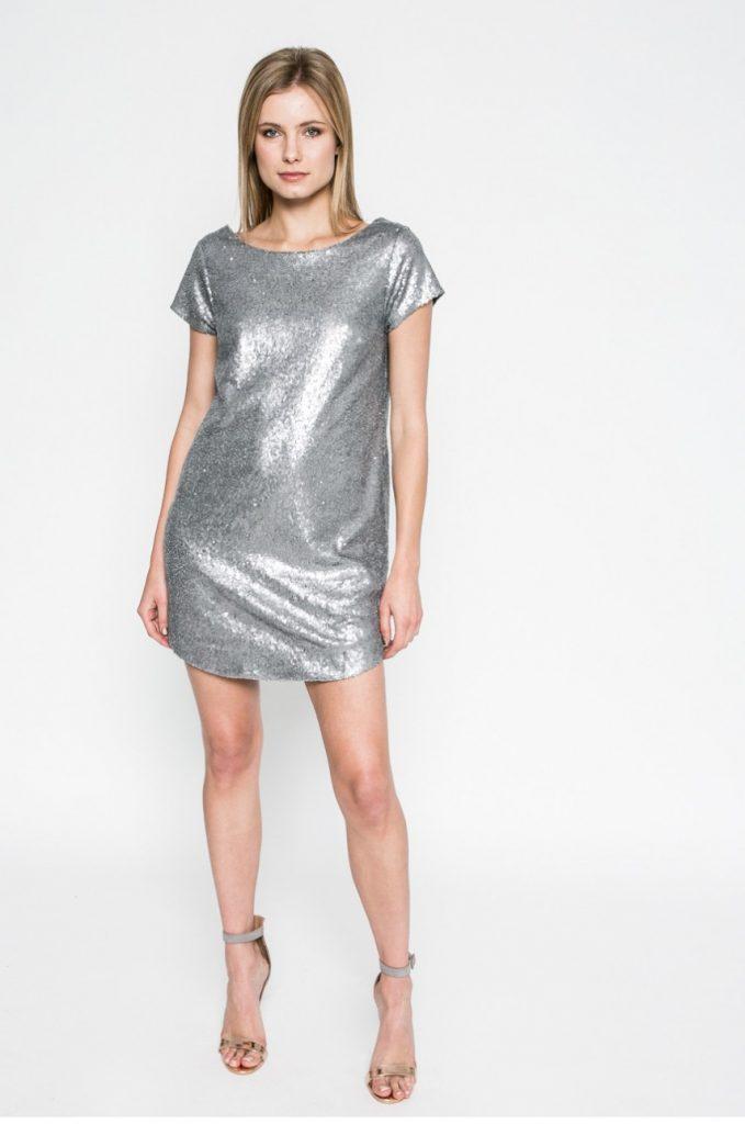 Rochie de ocazie argintie cu sclipici Kiss my dress