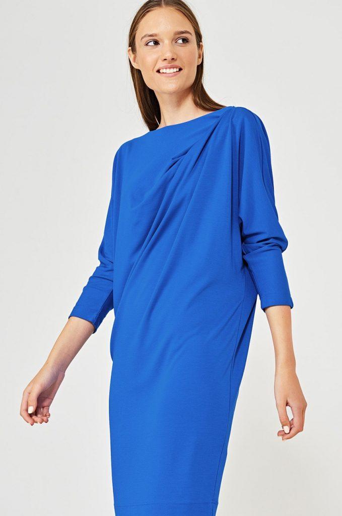 Rochie de ocazie albastru electric cu maneca trei sferturi si Maneca in raglan Simple