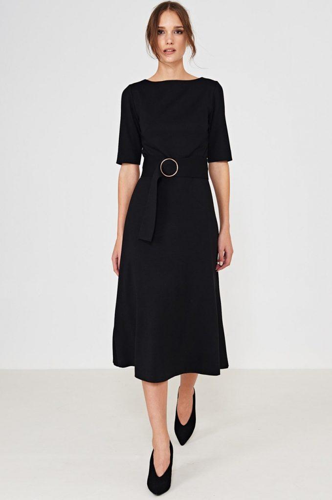 Rochie Eleganta Neagra Pana Sub Genunchi Cu Maneca Trei Sferturi