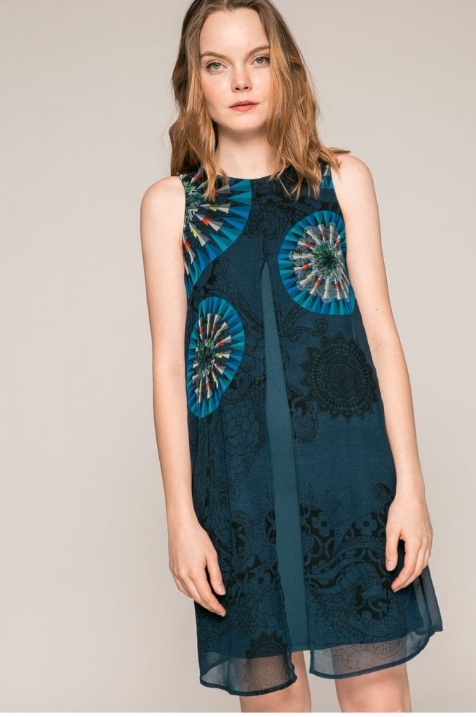 Rochie lejera turcoaz Desigual – Rochie dintr-o combinatie de tesaturi si tricot