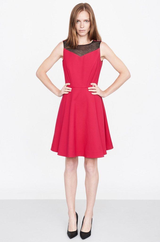 Rochie de ocazie eleganta rosie cu Insertii decorative Simple