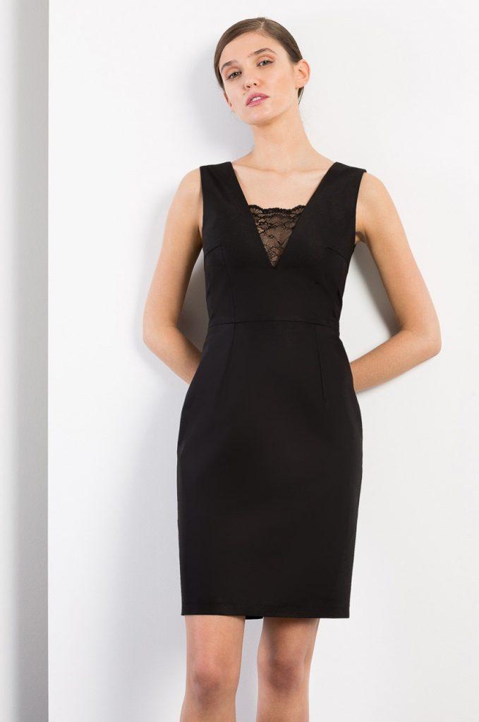 Rochie neagra scurta de ocazie Kiss my dress cu decolteu in V