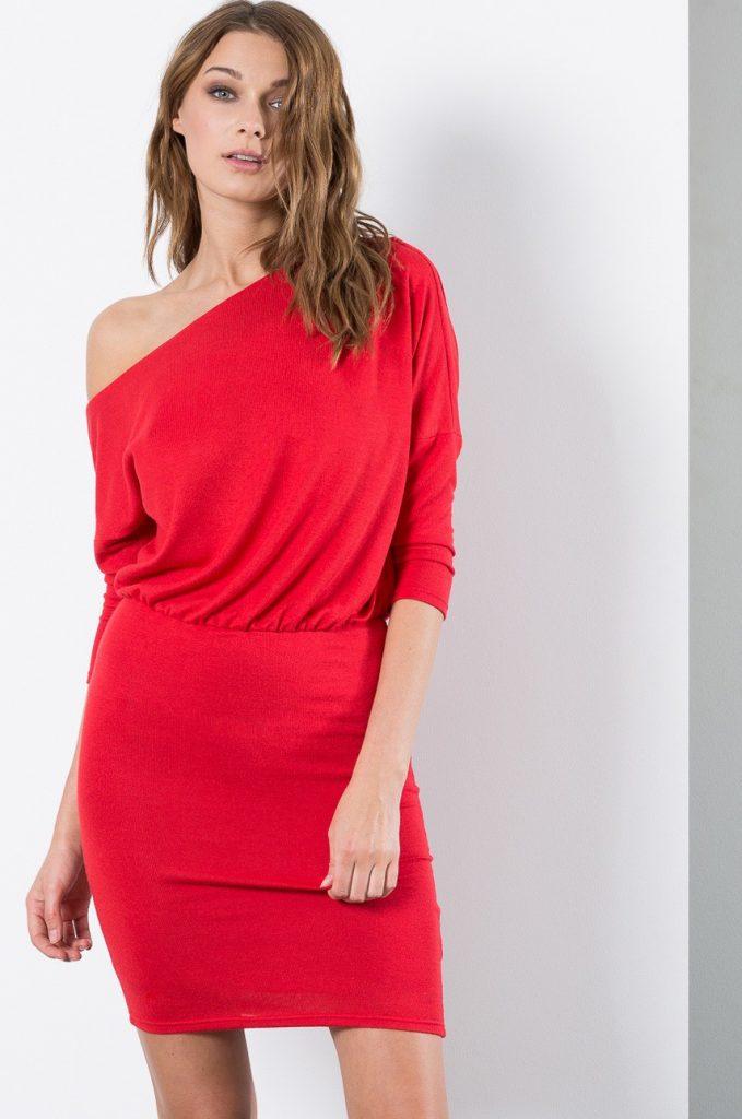 Rochie scurta rosie de seara Kiss my dress cu Decolteu rotund
