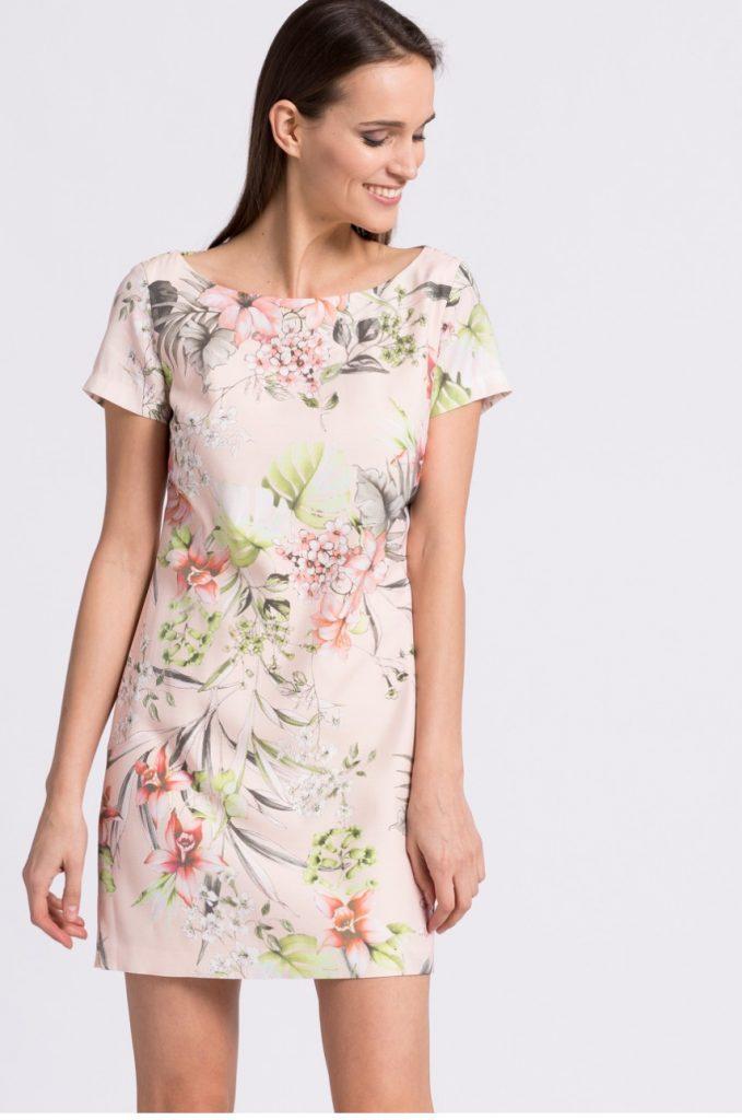Rochie Kiss my dress cu Maneca scurta si Imprimeu Floral