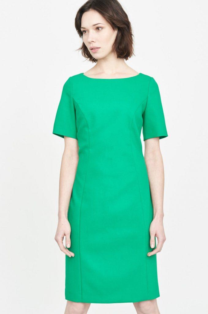 Rochie office verde eleganta Simple cu maneca scurta si crapatura mica pe picior