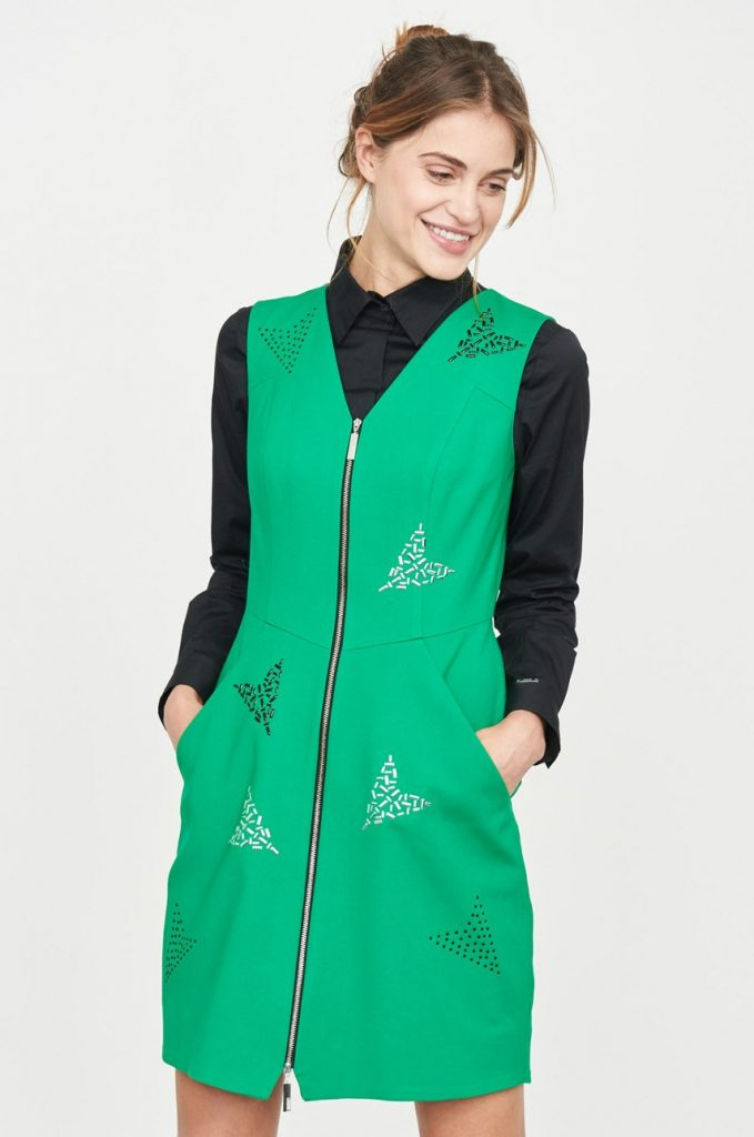 Rochie verde de primavara de zi Simple cu tesatura ornamentata.