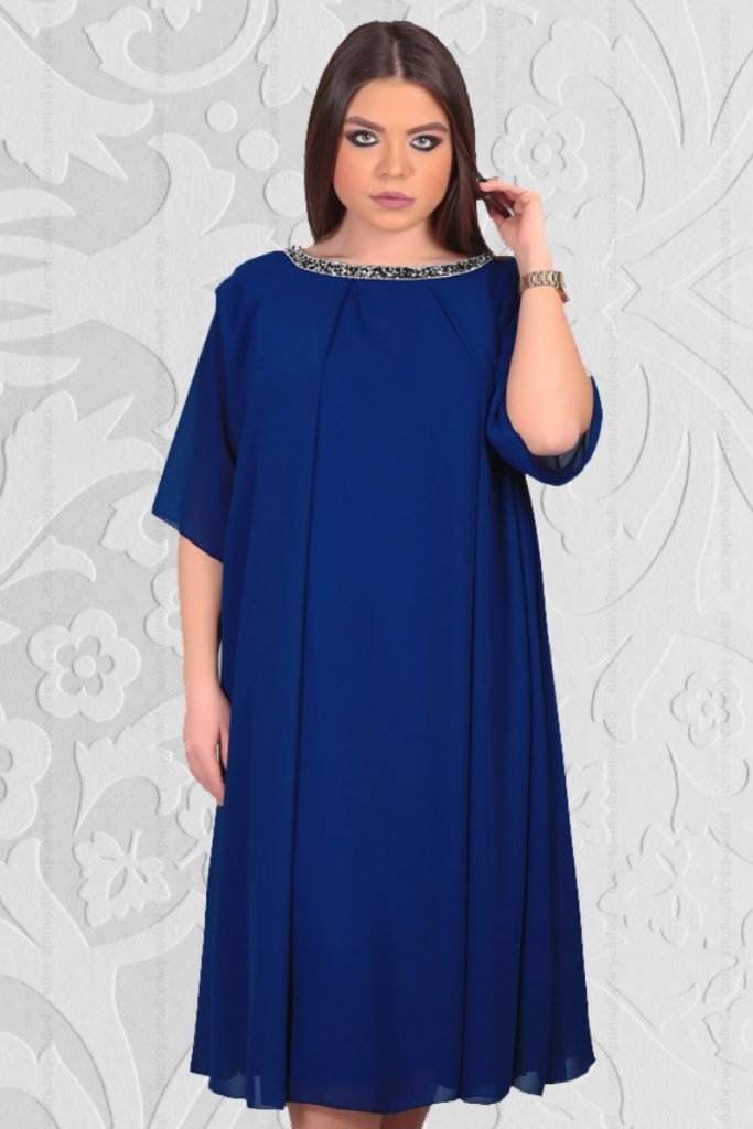 Rochie din Voal Diafan de culoare Albastru Regal Pentru Femei Plinute Aleta