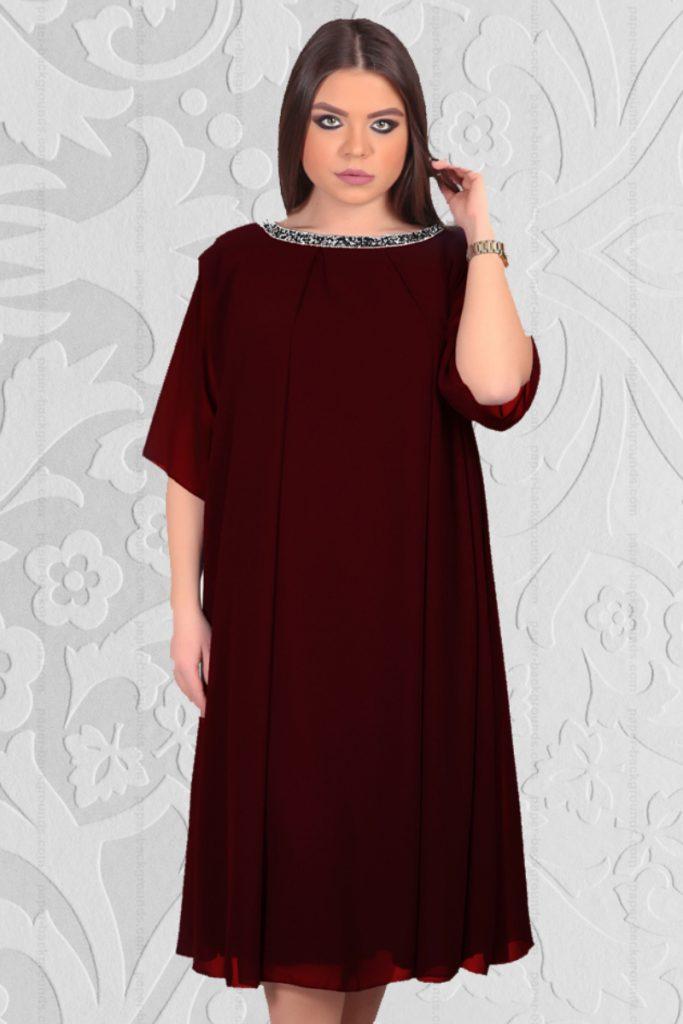 Rochie din Voal Diafan de culoare Grena Pentru Femei Plinute Aleta