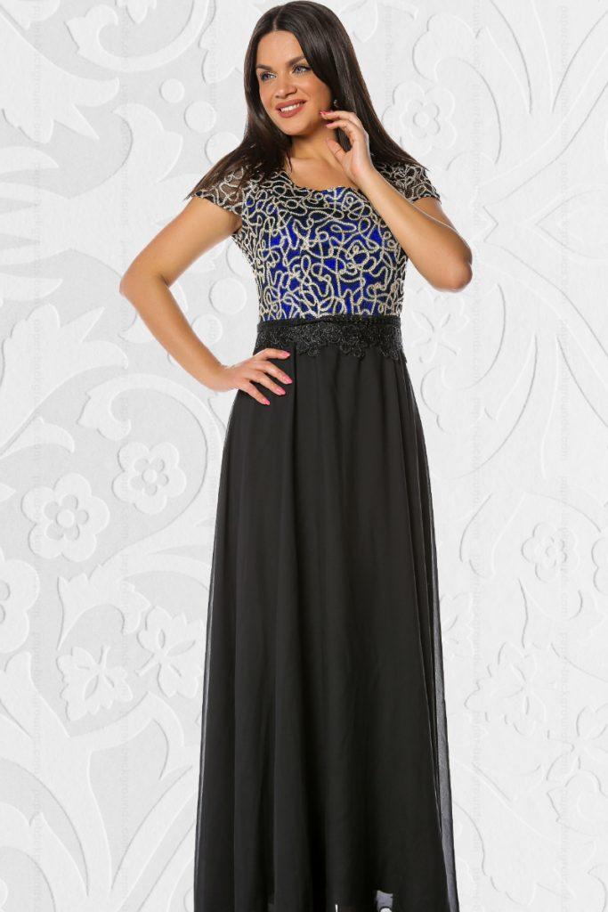 Rochie lunga de seara neagra eleganta cu dantela decorativa bleumarin in zona bustului Daiana