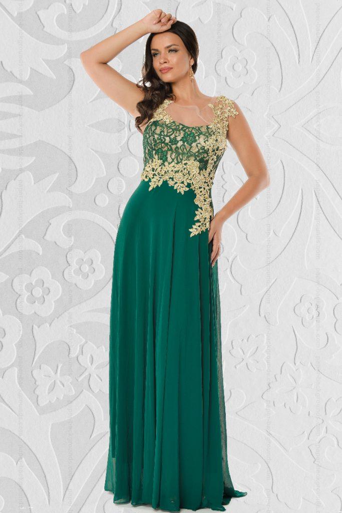 Rochie lunga eleganta verde din tull cu broderie la bust Emilia