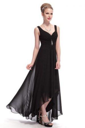 Rochie lunga de seara si de ocazie neagra cu bretele subtiri si spatele gol Olivia