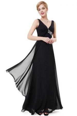 Rochie Lunga Eleganta De Ocazie Neagra Din Voal Superb Sika Rochii