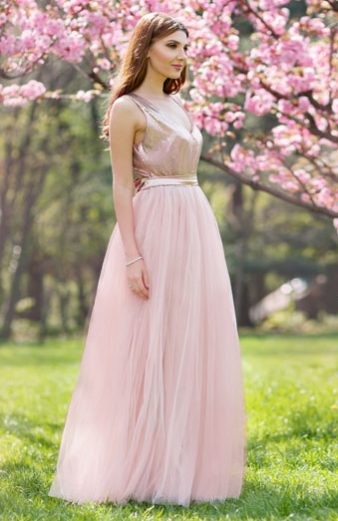 Rochie de Seara Roz Prafuit Eleganta stil Printesa din Tulle Captusit cu Satin Serena
