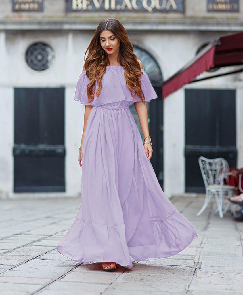 Rochie de Primavara Vara Lila Eleganta Realizata din 10m de Voal Madeira
