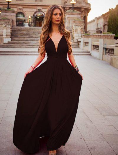 Rochie Neagra de Vara Pentru Ocazii Speciale Nevia