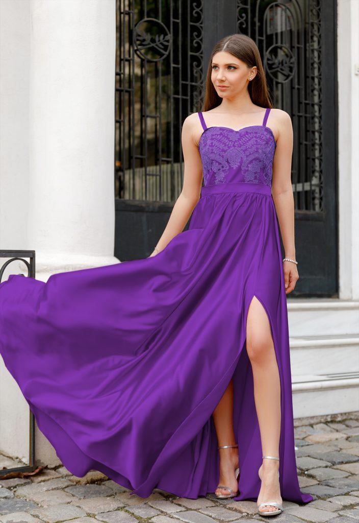 Rochie Mov Ultraviolet Lunga Eleganta cu Bretele Subtiri si Crapatura pe Picior Jasmine