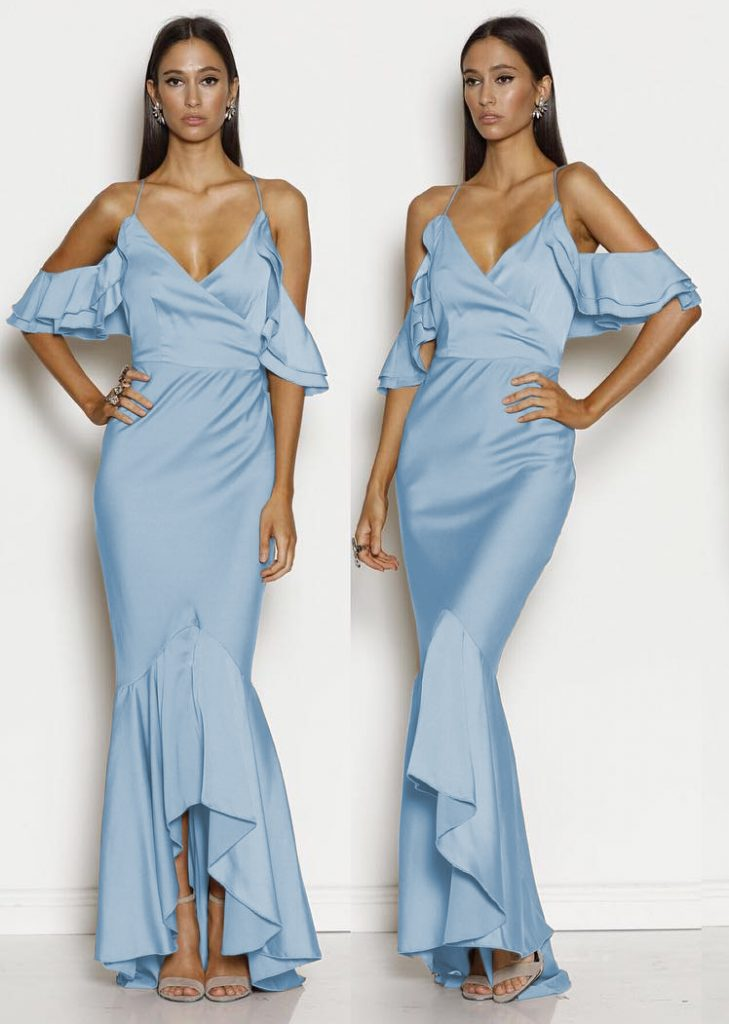 Rochie Bleu Eleganta Midi Pentru Domnisoare de Onoare