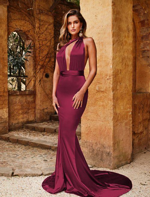 Rochie eleganta lunga de seara Alicia Bordo realizata din satin