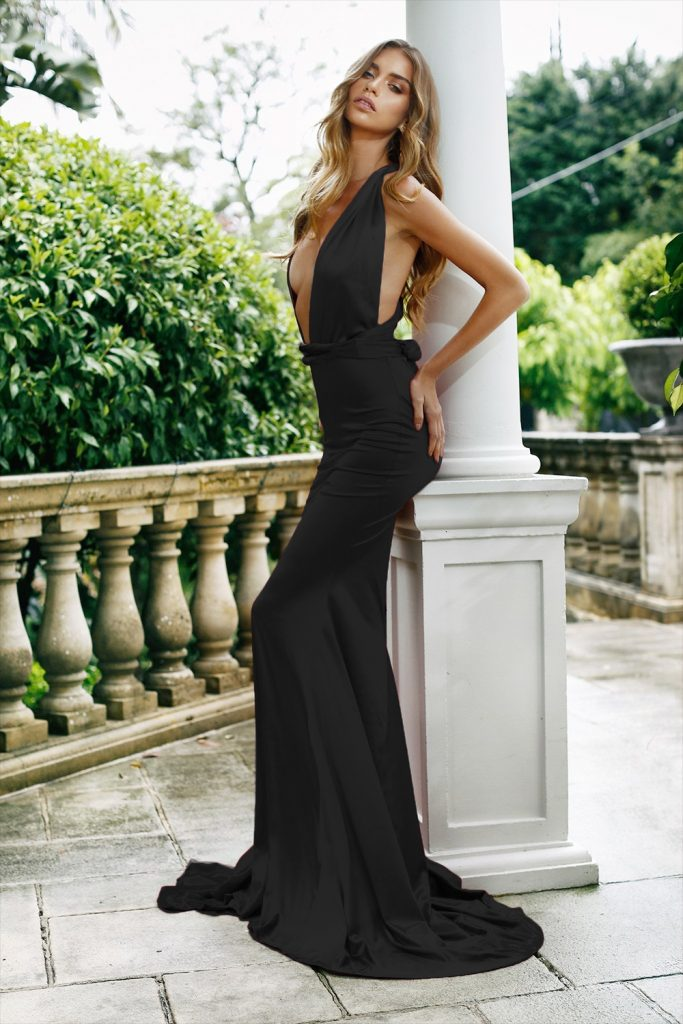Rochie din satin neagra cu croiala Sirena si cordon decorativ in talie Alicia