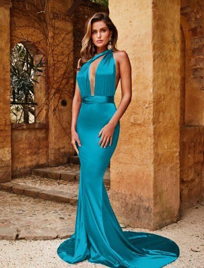 Rochie Turcoaz Eleganta Din Material Satinat Lunga Pana In Pamant