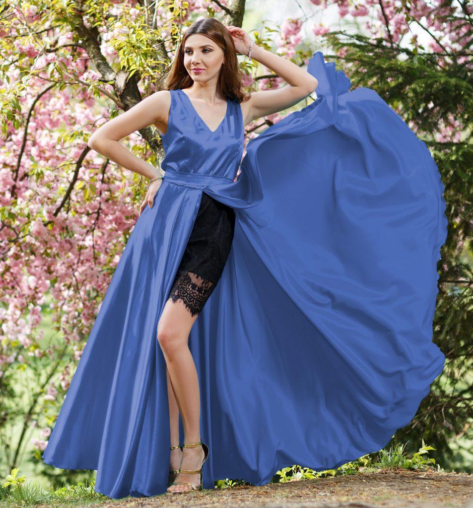 Rochie Albastra din Satin si Dantela Neagra Accesorizata cu Fundita la Spate Atena