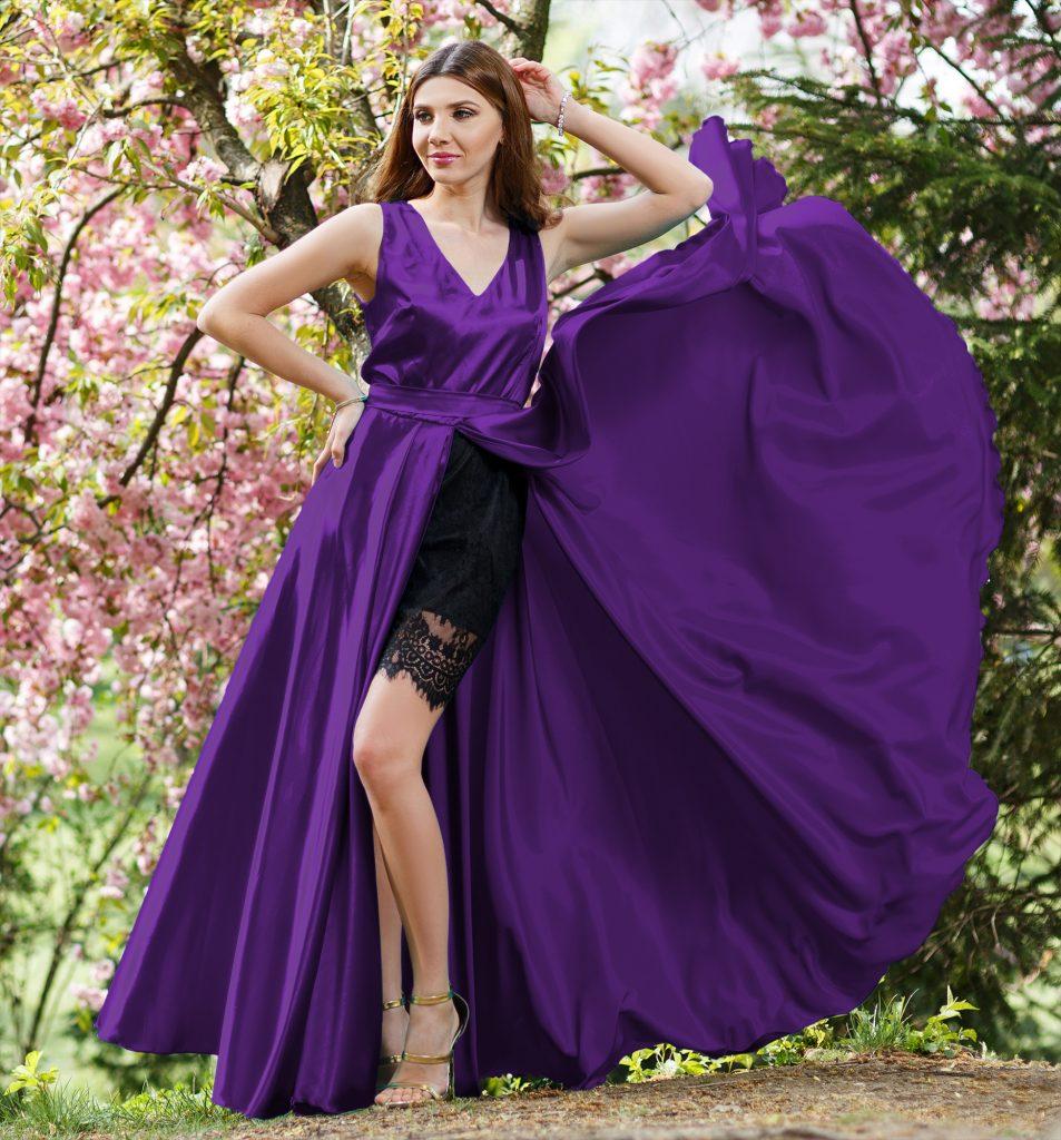 Rochie Mov Ultraviolet din Satin si Dantela Neagra Accesorizata cu Fundita la Spate Atena