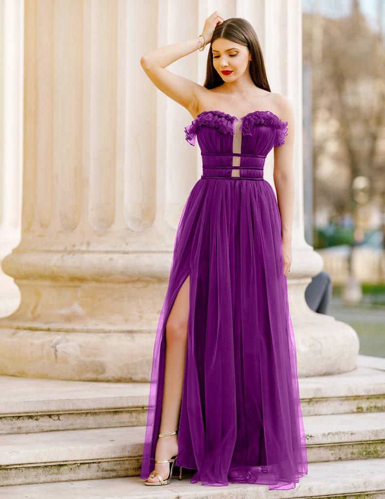 Rochie Lunga Mov Ultraviolet de Printesa in Tendintele Anului Efess
