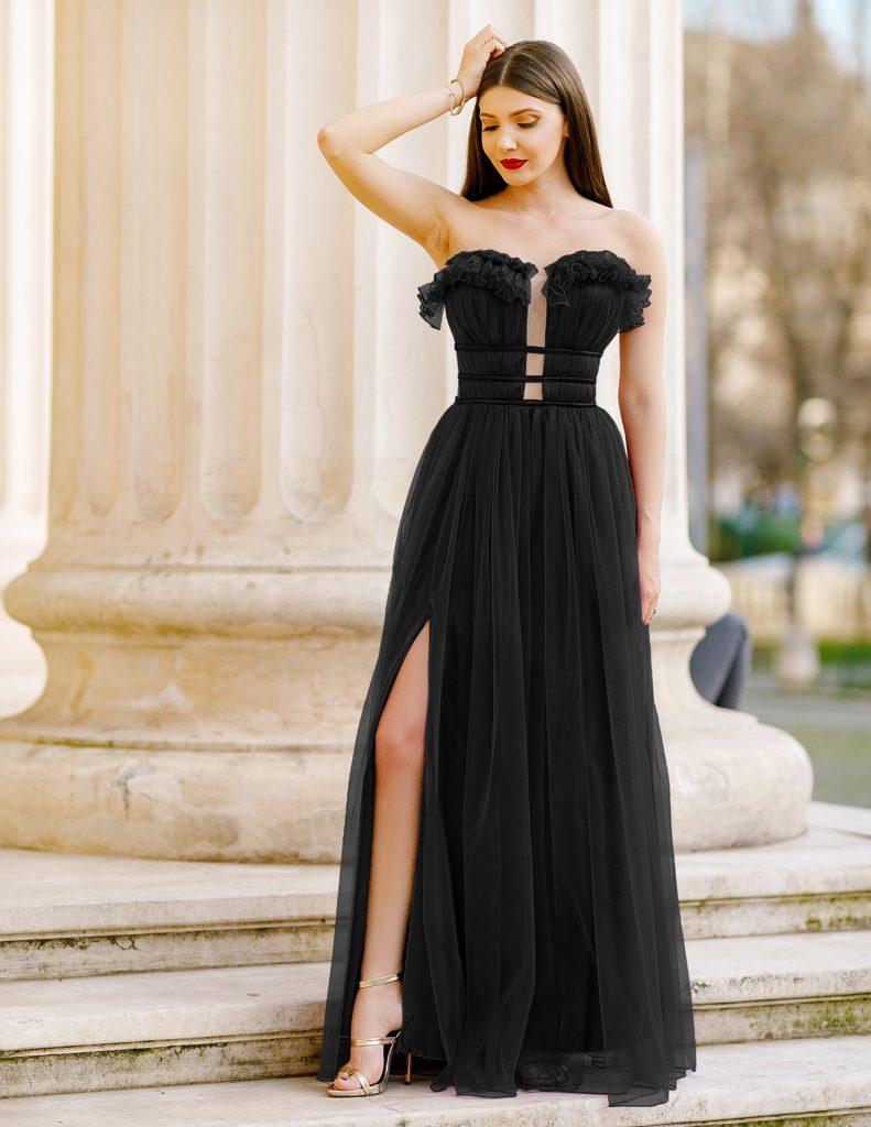 Rochie Lunga Neagra stil Printesa Pentru Banchet sau Ocazii Speciale Efess