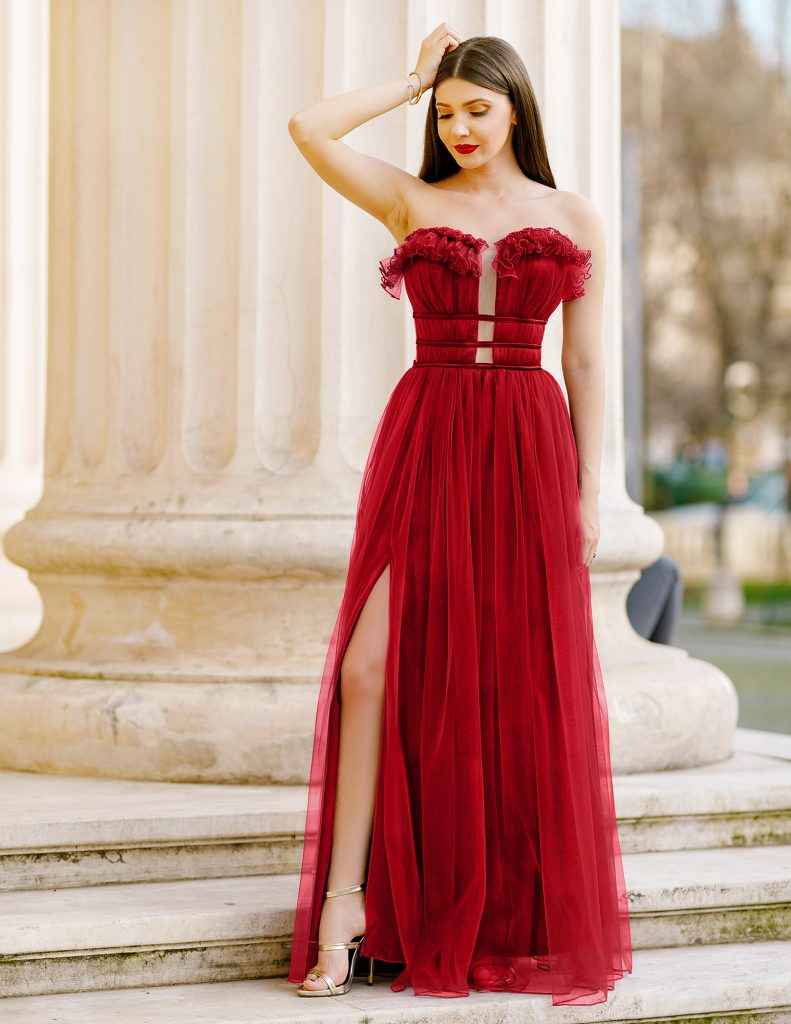 Rochie Rosie de Printesa Lunga Pana in Pamant cu Spate Gol Efess