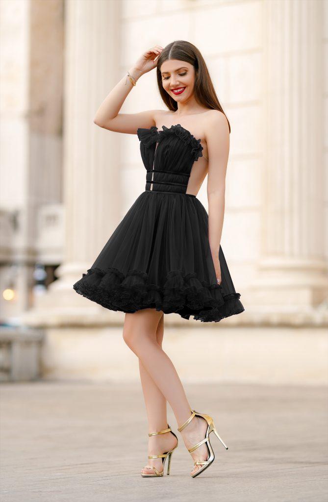 Rochie de Printesa Neagra Scurta in Ton cu Moda Anului Efess